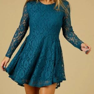 Altar'd State Long-Sleeve Lace Dress Tie Back